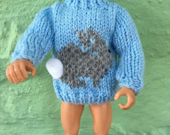 Action Man / Ken hand knit easter bunny jumper   NEW