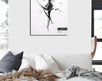 Contemporary Abstract Print, Black and White Wall Art, Ballerina Print Giclee, Dancer Art Canvas