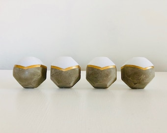 Grey concrete and gold geometric furniture knobs / drawer pulls.