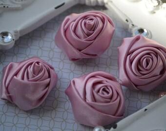 "1.5"" Mauve Satin Fabric Roses, Satin Rolled Rosettes, Ribbon Rolled Roses, Rolled Roses, Rolled Satin Roses, Satin Flowers, Satin Roses"