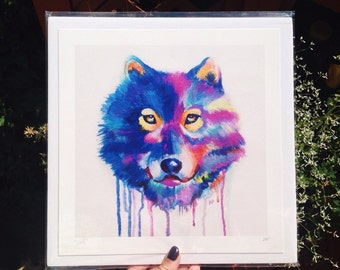 Wolf Art, Wolf Print, Wolf Painting Abstract Art Print, Drip Painting, Gift Idea, Home Decor, Colorful Painting