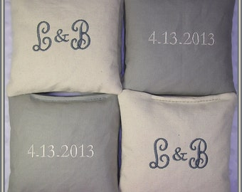 Wedding Cornhole Bags Personalized Set of 8 Cream and Light Grey