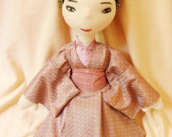 Sakura, a hand made, OOaK, cloth doll, Japanese doll