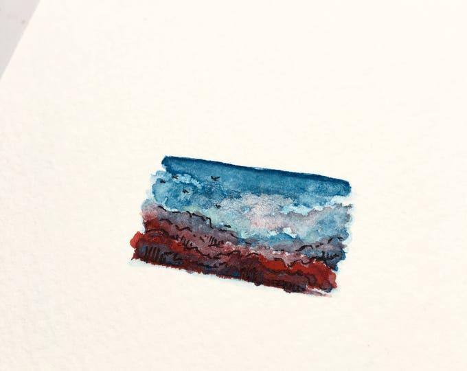 Vibrancy / original tiny landscape art on paper / unframed artwork / romantic scenic view + birds in flight
