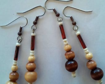 Wooden Earrings...Wood Bead Earrings...Tribal Earrings...Ethnic Earrings...Casual Earrings...African Earrings....Bohemian Earrings...4.50