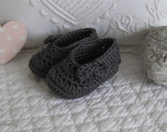 Mini pantofole all'uncinetto cotone grigio scuro