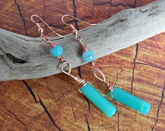 Adventurine Earrings, Copper Earrings, Copper and Adventurine, Teal and Copper Earrings, Gem Earrings, Handmade Earrings, Mothers Day Gift