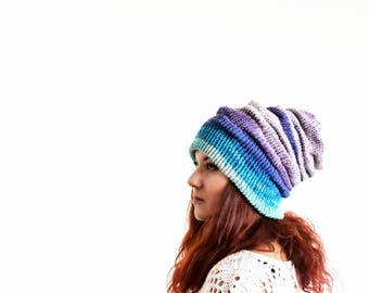 Turquoise blue purple winter slouchy hat, slouchy beanie, wool beanie, slouchy beanie woman, slouch beanie, knit slouchy beanie slouch toque
