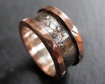Rustic Mens Wedding Band Size 7 Unique Mens Wedding Band Mens Wedding Ring Silver Gold Ring Rustic Mens Wedding Band Viking Wedding Ring Rus