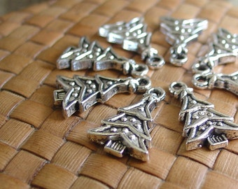 10 or 50 pcs Silver Christmas Tree Charms (14x19 mm)