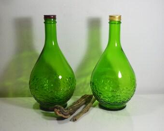 Two Gallo Flavor Guaro Half Gallon Green Bottles