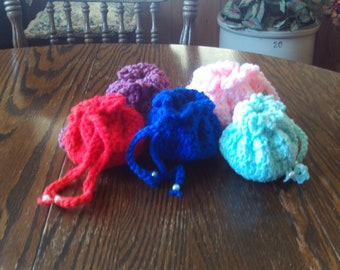 Set of 5,drawstring,bags,gifts,crocheted,door prize,girls,teens,party,accessories