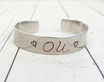 OU Oklahoma Sooners Hand Stamped Cuff Bracelet - Hand Stamped Cuff -Hand Stamped Bracelet-Sooners Bracelet-Sooners Jewelry-Oklahoma Bracelet