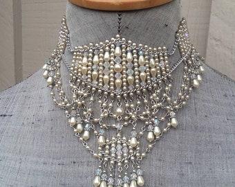 Cream Ivory Off White Pearl & Rainbow Swarovski Austrian Crystal AB Scallop Fringe Choker Necklace Wedding Bride Bridal Borealis Jewelry
