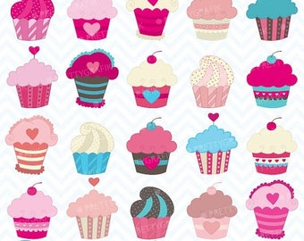 80% OFF SALE cupcake madness clipart commercial use, vector graphics, digital clip art, digital images - CL456