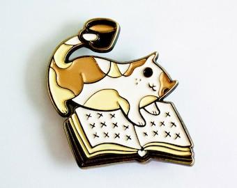 Book Pin Enamel Pin coffee pin - enamel pins - Book Enamel Pin, bookish gifts, book lover, coffee cat book pin, cat coffee pin, teacher gift