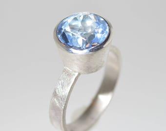 Ice Quartz: Sterling Silver Ring with Ice Blue Quartz