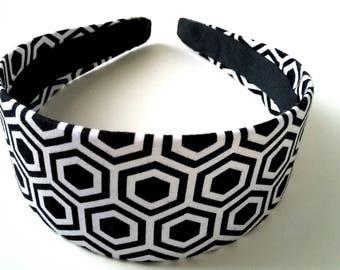 Black White Octogon Headband 2 Inch