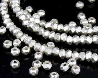 KI-033 thai karen hill tribe silver 20 small facet bead