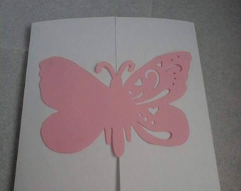 Pink and White Butterfly invitation (set of 12 share)