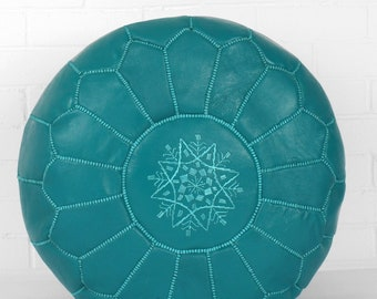 Moroccan Handmade Leather pouf floor pouf Leather Ottoman Moroccan Ottoman Turquoise