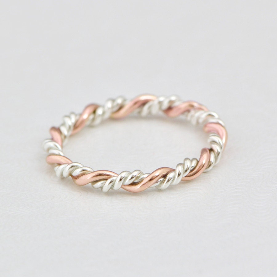 Stacker Bands: Rose Gold Twist Ring Gold Stack Ring Stacker Ring Twisted