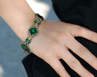 Art Deco Bracelet, Wedding Bracelet, Vintage Style Bracelet, Czech Glass, Gatsby Vintage Bracelet, 1930s Bracelet, Flapper Jewelry BR540