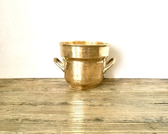 Small Brass Planter with handles / hammered patina brass planter