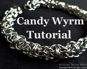 Tutorial for Candy Wyrm chain maille weave also includes instructions for weaving Candy Cane Cord
