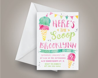 Here's the scoop ice cream Birthday Invitation, Ice cream Birthday Invitation, Pink, teal and green Birthday, summer birthday invite