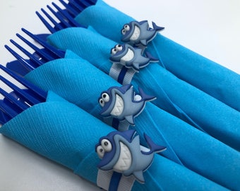 Shark Flatware - Shark Party Silverware, Shark Party Supplies, Shark Party Tableware, Shark Birthday Party