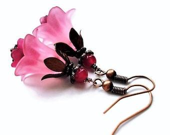 Pink Earrings Floral Jewelry Dangle Earrings Statement Jewelry Copper Earrings Pink Jewelry Long Earrings Bridesmaid Gift Flower Earrings