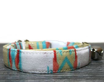 Aztec Cat Collar, Tribal Pattern Cat Collar, Tribal Pattern, Breakaway Collar, Cotton Collar, Cat Collars, Kitty Collar, Personalized Collar