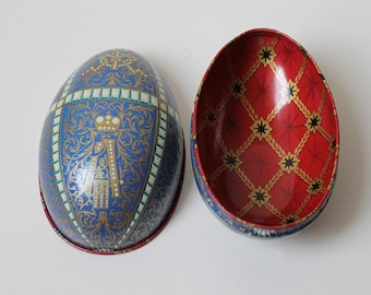Regal Egg Tin, Blue and Red Tin Box, Round Egg Tin, Easter Decoration Gift
