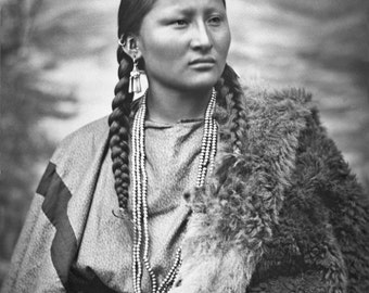 Cheyenne Woman Native American Portrait 1879 1880s Vintage Old West Western Indigenous Indian Sepia Black