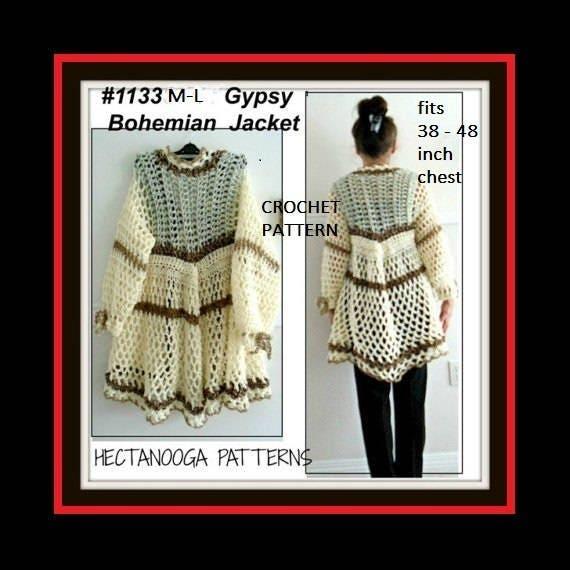 Crochet Pattern Gypsy Bohemian Vest Or Jacket Women Teens