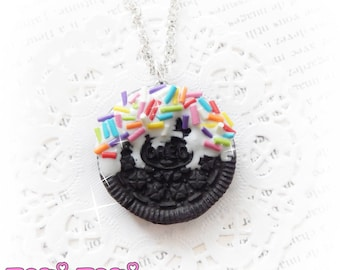Cookie Necklace Dipped With Rainbow Sprinkles, Polymer Clay Cookie Charm, Fake Food Necklace, Cute Kawaii Necklace, Cookie Jewelry