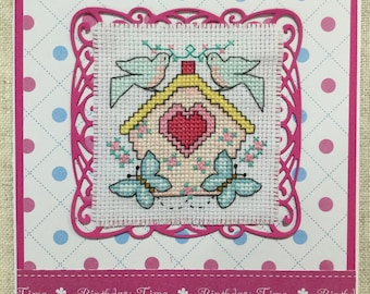 Embroidery card / cross stitched card / handmade Birthday card / handmade card