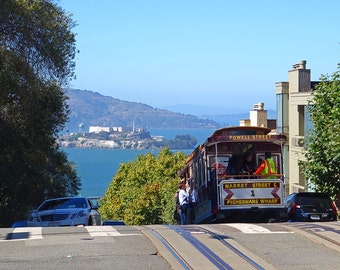 Trolley Descending into San Francisco, San Francisco Photography, San Francisco Art, San Francisco print, San Francisco Decor, Alcatraz