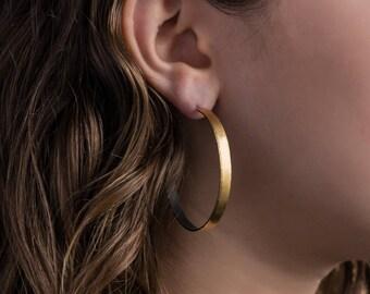 Gold Hoop Earrings, Wide, Large 22K Bimetal, 50mm.