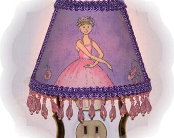 Purple Ballerina Light Skin Blonde Hair NIGHT LIGHT Lavendar Beaded Fringe Trims
