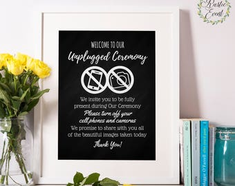 Unplugged Ceremony Printable / Unplugged Wedding Sign / Printable Unplugged Sign / No phones Sign / Chalkboard wedding Printable sign
