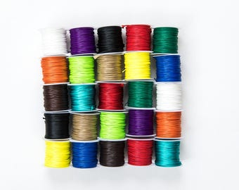 25 Cord Spools - 1mm - Waxed Polyester Cords - Assorted - 10M Per Roll - 32 Feet Each - 250M Total - 820' - Ships IMMEDIATELY  - CH822