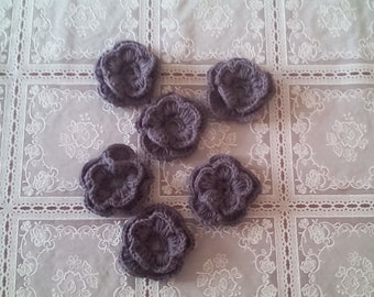 set of 6 crochet flowers, crochet flowers, appliques, craft supplies, sewing supplies, ready to ship