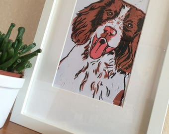 Beautiful Springer Spaniel hand-pulled linocut print