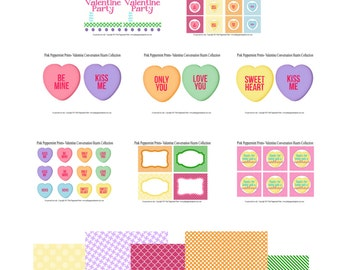 Instant Download The Conversation Hearts Valentine Printable Party Full Collection