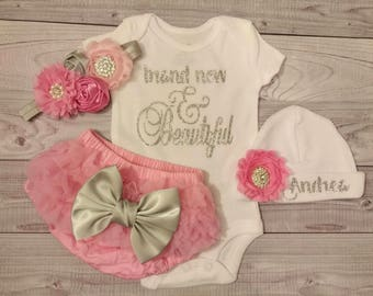 baby girl, hospital outfit, new born, newborn, hospital hat, baby hat, baby girl, hospital, hat, baby gown, newborn baby girl, gown, infant