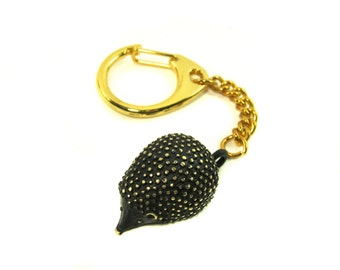"Hedgehog Keychain - Walter Bosse ""Black Gold"" Bronze Key Ring"