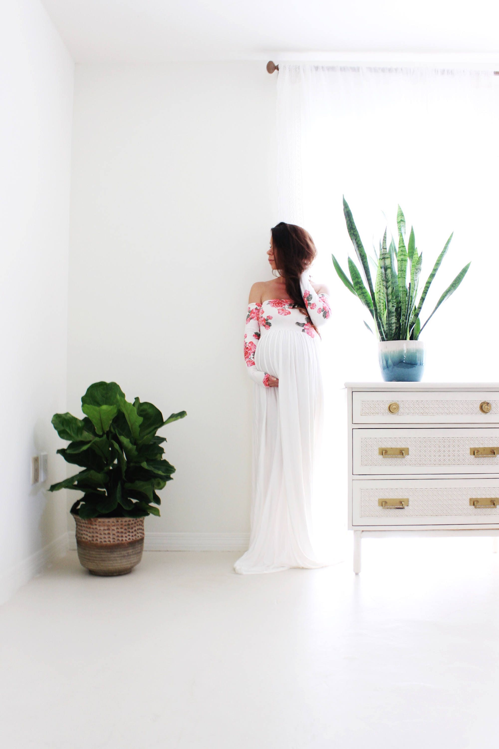 long sleeve Maternity gown photography baby shower maternity