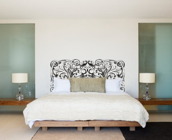 Ornate swirl headboard royal bed frame bedpost wall decal for Bed frame wall decal